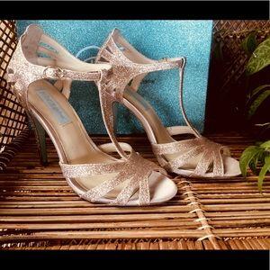 Betsy Johnson Rose Gold Glitter Heels Sz 7.5